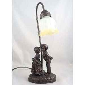 Bronze Romance Girl Kissing Boy Table Lamp Light New: Electronics