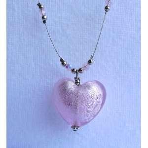 Necklace Marcasite & Garnet Glass Pink Heart Pendant, 18