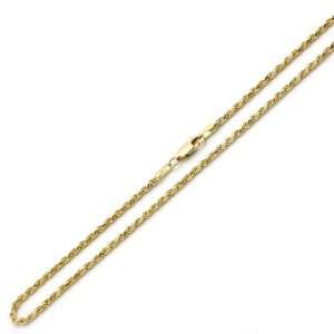 14K Two Tone Gold 2mm Rope Chain Necklace 22 W/ Lobster