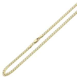14K Two Tone Gold 4.5mm White Pave Curb Chain Necklace 18 W/ Lobster