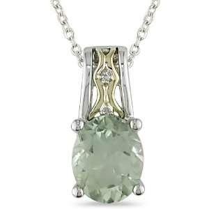 10K Gold and Silver Diamond Green Amethyst Pendant Jewelry