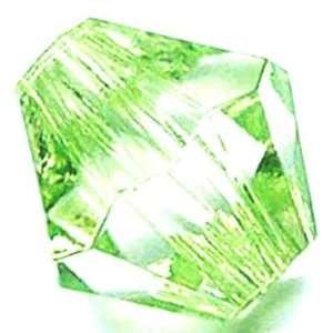 Light Green Bicone Machine cut Glass Bead (42+ pcs). 6mm