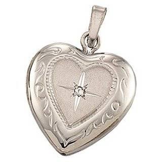 White Gold Heart Shaped Diamond Locket Pendant Jewelry