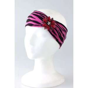 Fashion Hair Accessory ~ Pink Zebra Jewel Flower Accent