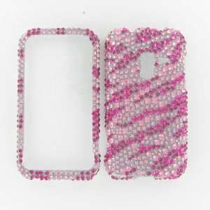 Attain 4G/D600 Conquer 4G Full Diamond Hot Pink Zebra Protective Case