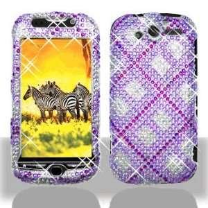 HTC myTouch 4G Full Diamond Bling Purple Plaid Hard Case Snap on Cover
