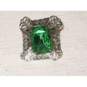 Large Green Glass & Silver Tone Filigree Adjustable Ring   Ring
