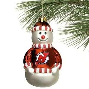 New Jersey Devils Blown Glass Snowman Ornament