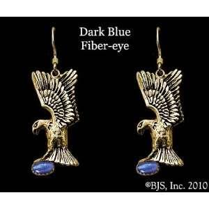 Eagle Earrings with Gem, 14k Yellow Gold, Dark Blue set