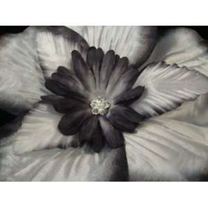 Large Black and White Satin Hair Flower Clip Beauty