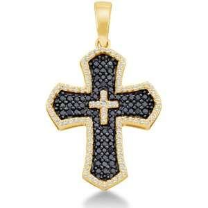 com 14K Yellow Gold Large Cross Round White and Black Diamond Pendant