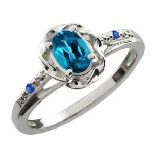 Ct Oval London Blue Topaz Blue Sapphire 10K White Gold Ring Jewelry