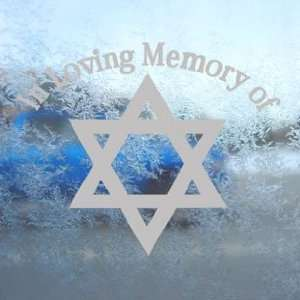 In Loving Memory Star David Gray Decal Window Gray Sticker