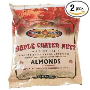 Dennis Farms Maple Coated Almonds, 4 Ounce Bags (Pack of 2)