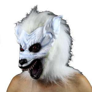 Evil Scary Beast White High grade Latex Gnoll Mask for Halloween Party