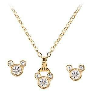 24 Kt Gold Plated Crystal Mickey Mouse 18 Inch Necklace & Earring Set