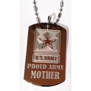 Armed Forces Proud Army Mom Engraved Star Logo Symbols   Military