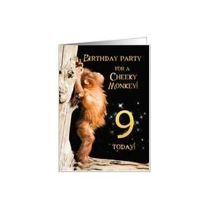 A 9th Birthday party Invitation card for a Cheeky Monkey