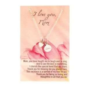 I Love You Mom Mothers Day Gift Charm Heart Necklace