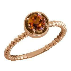 Ct Round Orange Mystic Topaz Gold Plated Sterling Silver Ring Jewelry