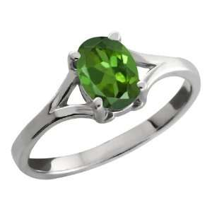 0.85 Ct Oval Green Tourmaline 18k White Gold Ring Jewelry