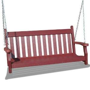 V1228 B Outdoor Recycled Plastic Swing, Burgundy Patio, Lawn & Garden