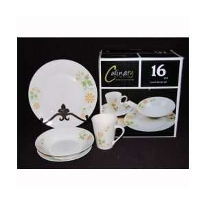 16pc Porcelain Dinner Set 10.5 Plate, 8 Soup , 7.5 Salad, 11zo Mug