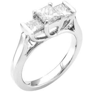 14k White Gold 3 Stone Princess Cut Diamond Ring (1 1/2