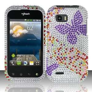 PURPLE BUTTERFLY Hard Plastic Bling Rhinestone Case for LG