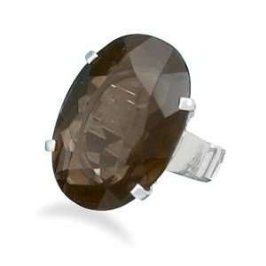 26.5mm X 17.5mm Oval Faceted Smoky Quartz Ring Size Available 6,7,8,9