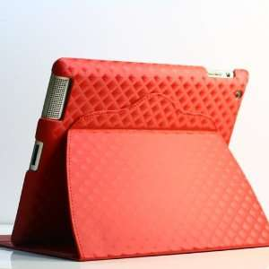 ZuGadgets Red Plaid Leather Flip Stand Case / Cover for iPad 2 +Free