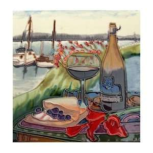 Wine Bottle Glass Decorative Ceramic Wall Art Tile 8x8: Home & Kitchen