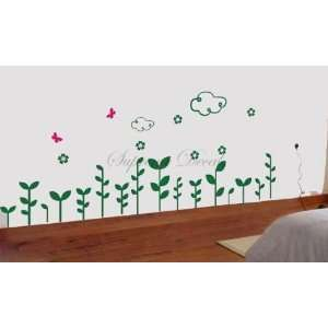 Color   Clouds and Grass     Wall Art Home Decors Murals Removable