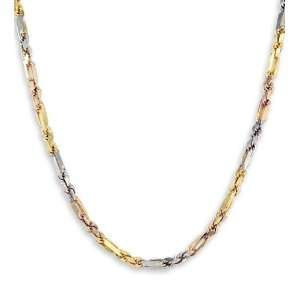 14k Yellow White Rose Gold Oval Rope Link Necklace Jewelry