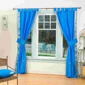 Indo Blue Tab Top Sari Sheer Curtain (43 in. x 84 in.) with matching