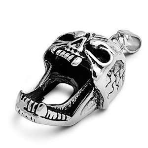 Stainless Steel Pendant   Screaming Skull Jewelry