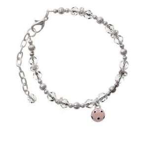 Two Sided Clear Czech Glass Beaded Charm Bracelet Jewelry