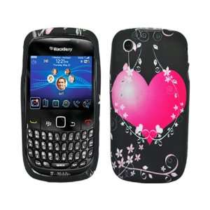 Pink Heart Flowers Black TPU Ice Candy Skin Soft Rubber
