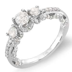 14k White Gold Round Cut Diamond 3 stone Ladies Engagement Bridal Ring