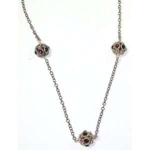 Strand Necklace With 3 Burgundy and Pink Swarovski Crystals Jewelry