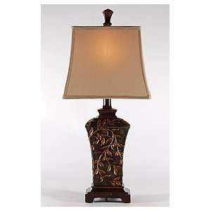 Traditional Golden Leaves on Teal Green Table Lamp