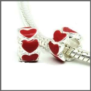Sparkles Beautiful Antique Silver Enamel Red Hearts Spacer Bead Charm