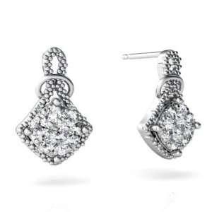 14K White Gold White Diamond Antique Style Earrings Jewelry