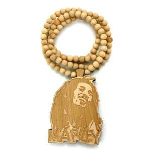 Wooden Bob Marley Pendant with a 36 Inch Beaded Necklace Good Chain