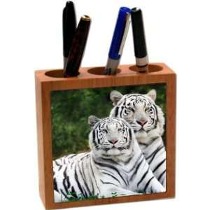 Rikki KnightTM White Tigers 5 Inch Tile Maple Finished Wooden Tile