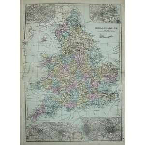 Bacon World Atlas 1891 Map England Wales Newcastle