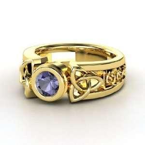 Celtic Sun Ring, Round Iolite 14K Yellow Gold Ring