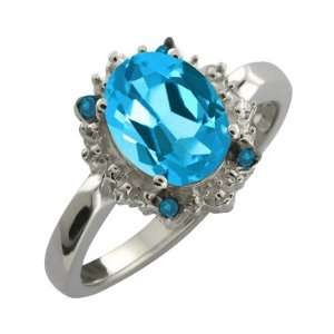 2.22 Ct Oval Swiss Blue Topaz and Blue Diamond 10k White