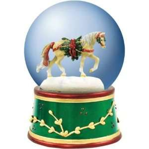 Yellow Horse With White Mane And Christmas Wreath Snow Globe
