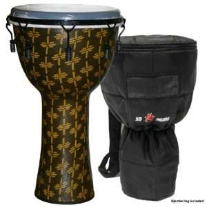 African Gold Fiberglass Mechanically Tuned Djembe w/ Synthetic Head 14